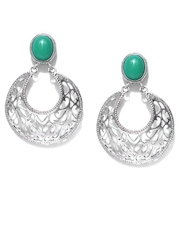 Fabindia Ananya Green & Silver Drop Earrings