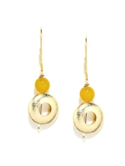 Fabindia Ananya Yellow & Gold Toned Drop Earrings