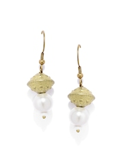 Fabindia Anusuya Dull Gold-Toned & White Drop Earrings