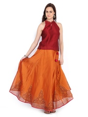 Fabindia Women Maroon & Rust Orange Silk Cotton Clothing Set
