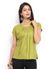 Fabindia Women Green Tussar Silk Top