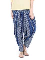 Fabindia Women Indigo Blue Printed Patiala