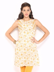 Fabindia Women Off-White & Yellow Printed Kurta
