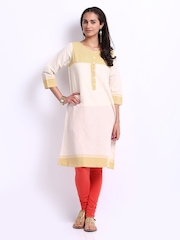 Fabindia Women Off-White & Cream Coloured Khadi Kurta