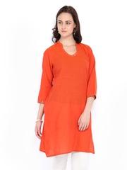 Fabindia Women Orange Hand Embroidered Kurta