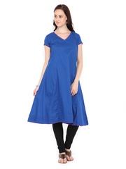 Women Blue Anarkali Kurta Fabindia