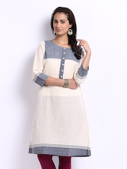 Fabindia Women Off-White Khadi Kurta