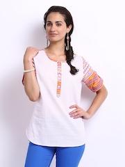 Fabindia Women White & Pink Printed Kurti