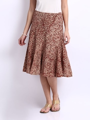 Fabindia Women Maroon & Pink Flared Skirt