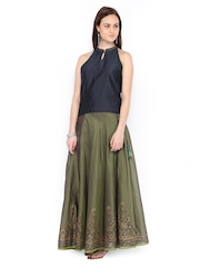Fabindia Women Navy & Olive Green Silk Cotton Clothing Set