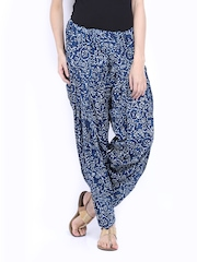 Fabindia Women Blue Printed Patiala Pants