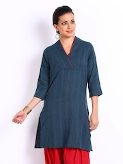 Fabindia Women Navy Striped Khadi Kurta