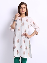 Fabindia Women Off-White Printed Kurta