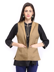 Fabindia Women Beige Silk Ethnic Jacket