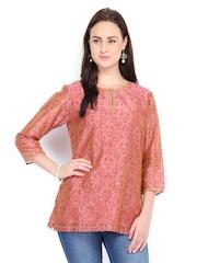 Fabindia Women Pink Chanderi Silk Printed Kurti