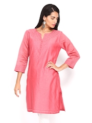 Fabindia Women Pink Printed Kurta