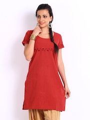 Fabindia Women Red Chikankari Embroidered Khadi Kurta