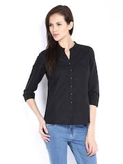 Fabindia Women Black Linen Blend Shirt