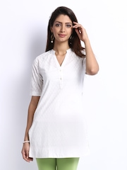 Fabindia Women Off-White Hand Block Print Kurti