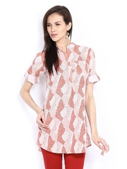 Fabindia Women Rust Orange Printed Kurti