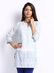 Fabindia Women White & Blue Printed Kurti