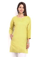 Fabindia Women Yellow Linen Kurta