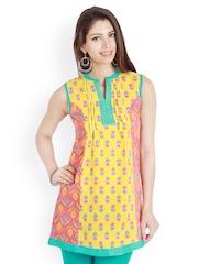 Fabnesia Women Yellow & Pink Printed Kurti