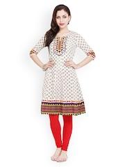 Fabnesia Women Cream-Coloured Printed Anarkali Kurta