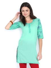 Fabnesia Women Green Printed Kurti
