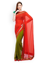 Red & Olive Green Faux Georgette Fashion Saree Fabroop