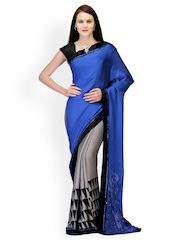 Fabroop Blue & Grey Satin Partywear Saree