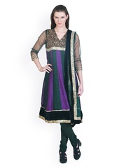 Famous by Payal Kapoor Women Purple & Black Embroidered Anarkali Churidar Kurta with Dupatta