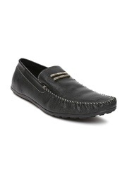 Famozi Men Black Leather Loafers
