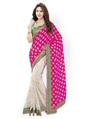 Fashiontra Pink & White Chiffon Fashion Saree