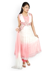 Women Light Pink & White Net Anarkali Churidar Kurta With Dupatta Fashiontra