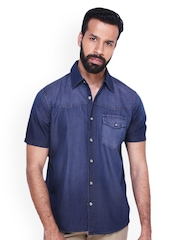 Fast n Fashion Men Blue Denim Casual Shirt
