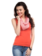 Fastrack Unisex Coral Pink Striped Knitted Snood