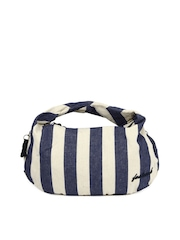 Fastrack Women Blue and Cream Striped Handbag