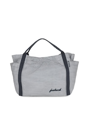 Fastrack Women Blue and White Striped Tote Bag