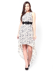 Femella Black & White Printed High Low Dress