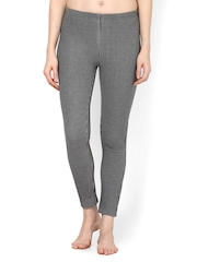 Femella Women Grey Striped Thermal Leggings