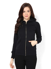 Femella Women Black Hooded Sweatshirt