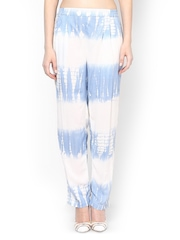 Femella Women Blue Tie-Dye Printed Trousers