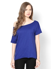 Femella Women Blue Off-Shoulder T-shirt