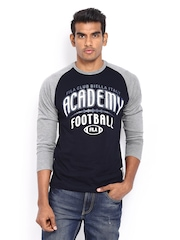 Fila Men Blue & Grey Printed T-shirt