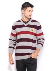 Fila Men Grey & Maroon Striped Jorta Sweater