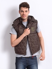 Fila Men Brown Sleeveless Jacket