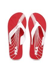 Fila Men White & Red Fringe Flip Flops