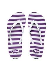 Fila Women Purple & White Stripes Flip Flops