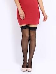 Fiore Black Sheer Thigh-High Romance Stockings